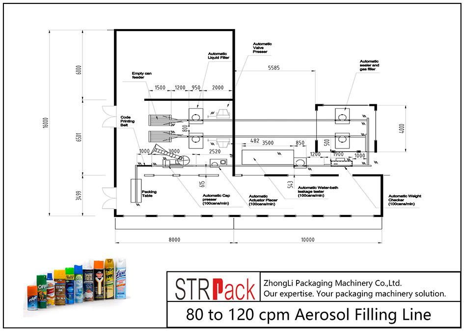 80 hingga 120 cpm Jalur Pengisian Aerosol